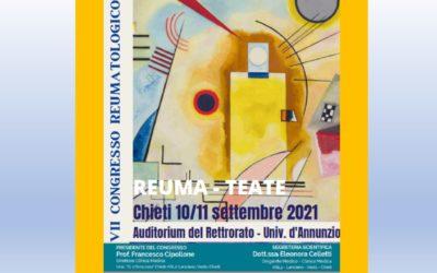 CONGRESSO REUMATEATE 10 e 11 Settembre 2021 CHIETI Auditorium del Rettorato Università G. d'Annunzio